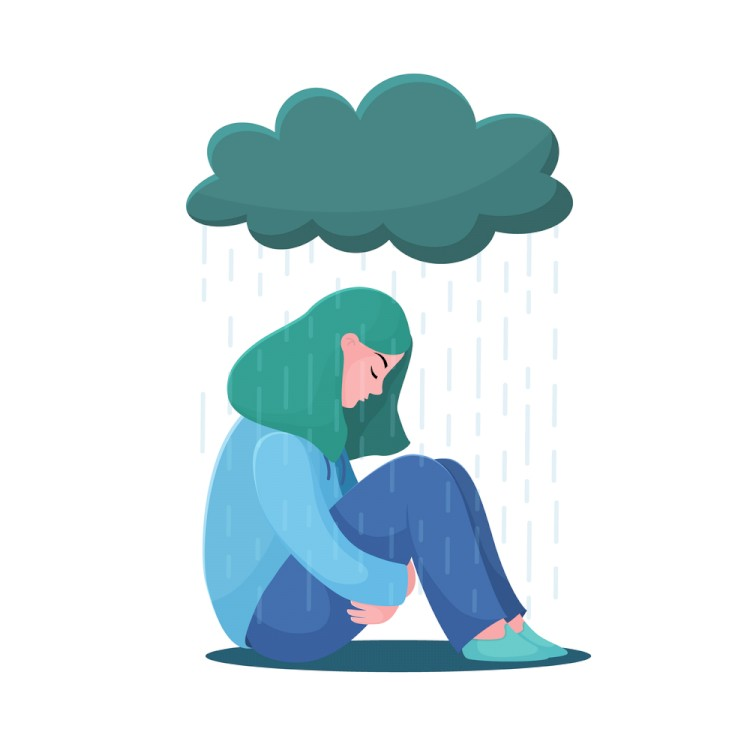 Woman Sitting Under Rain Cloud