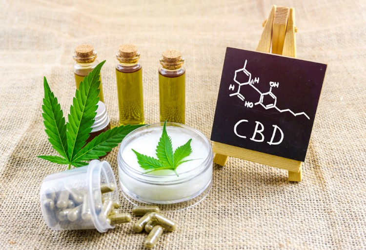 Topical CBD products on table