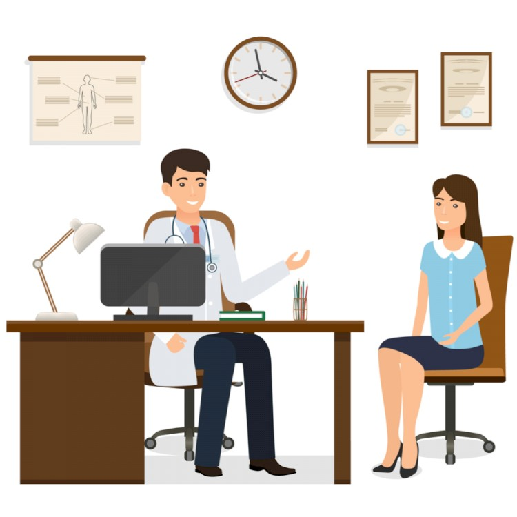 Illustration of doctor and patient
