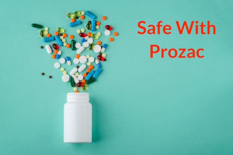 Bottle Spilling Pills With Text Safe WIth Prozac