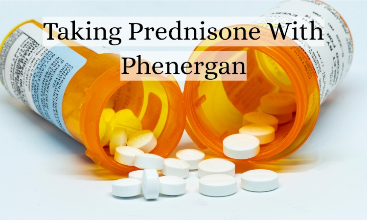 Two Pills Bottles Spilling With Text Prednisone With Phenergan