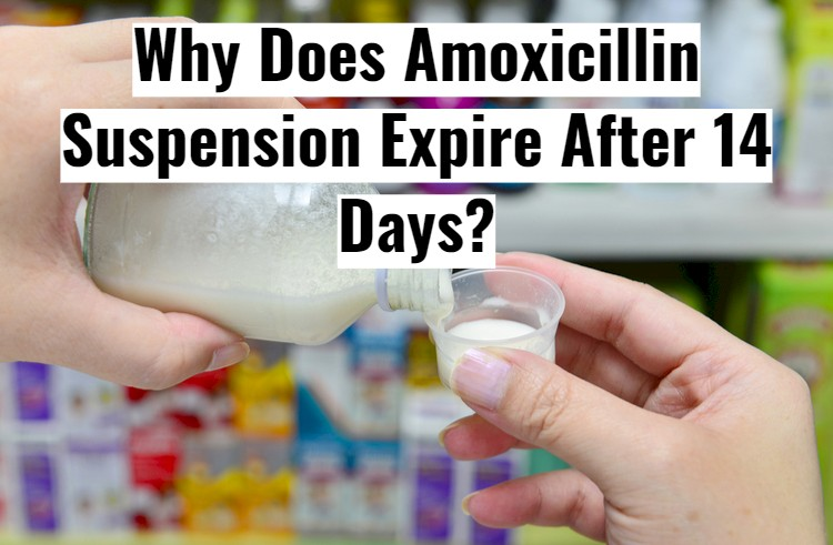 Pouring White Reconstituted Antibiotic with text - Amoxicillin Suspension Expire After 14 Days?