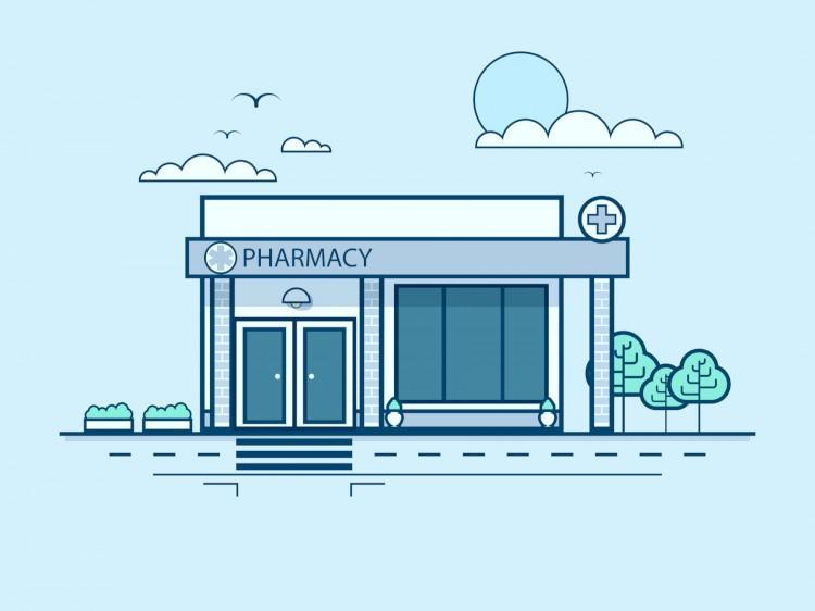 Pharmacy Store Front Illustration