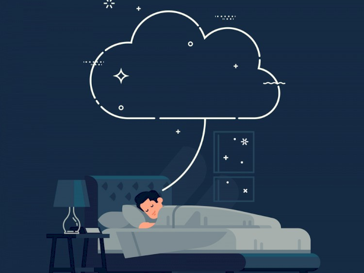 Sleeping man having a dream concept template. Cool vector flat illustration with empty dream cloud and sleeping man - Vector
