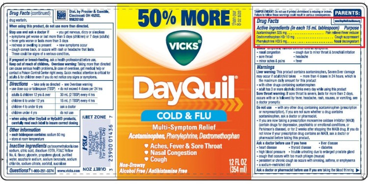 DayQuil Label With Dextromethorphan And PhenylEphrine Highlighted