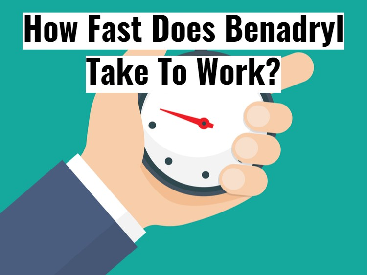 Illustration Hand Holding Stopwatch with text - How fast does Benadryl work
