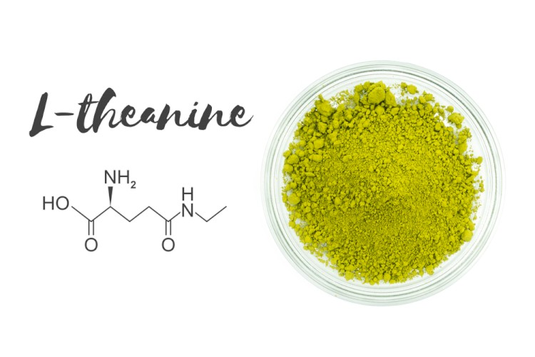 L-Theanine Name Structure And Powder With White Background