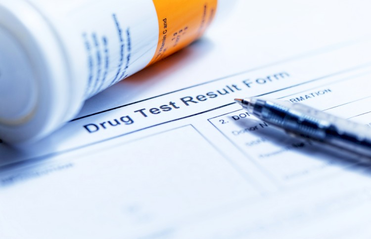 Drug test blank form with Variety of medicines