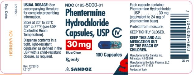 Sandoz Phentermine Label