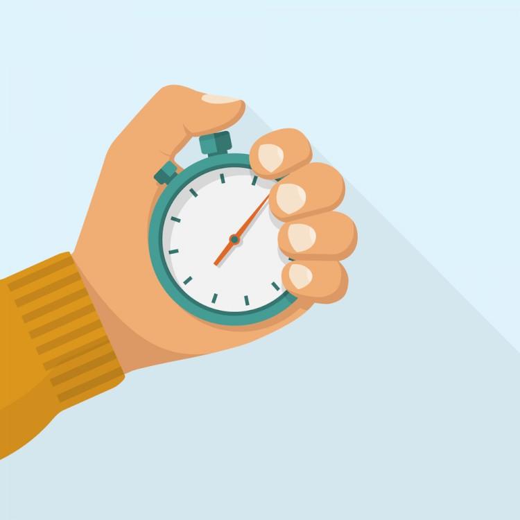 tan hand holding stopwatch illustration
